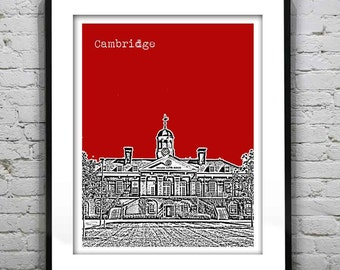 Harvard Square Cambridge Poster Art Print Boston Massachusetts Version 48