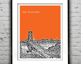 San Francisco Poster Art Skyline Print Bay Bridge Version 1