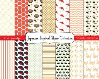 Japanese Inspired Digital Scrapbook Paper Instant Download