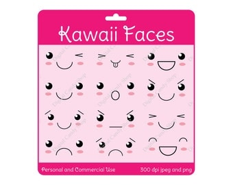 Cute Kawaii Faces Digital Scrapbook Embellishments and Clipart Instant Download