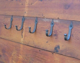 Hand Forged Coat Hooks.  Set of five.