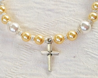 Cross Bracelet with White and Gold Swarovski Pearls