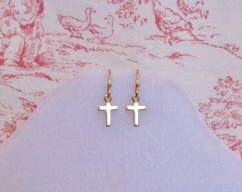 Cross Earrings - Simple 22K Gold Plated - Small
