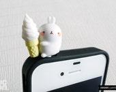 SALE30%OFF: Cute Bunny Munching Ice Cream iPhone Plug . Phone Charm . Phone Plug . Dust Plug // Hand Painted, Kawaii, Cute, Rabbit, Gift