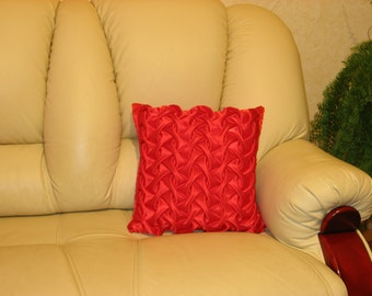 "Red - smocked - decorative - luxury - handmade - throw pillow  - cushion - cover - 40 cm x 40 cm (16"" x 16"")"