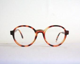 Vintage Frame Trussardi TPL 220, Round Eye Glasses Pantos Tortoise Made in Italy