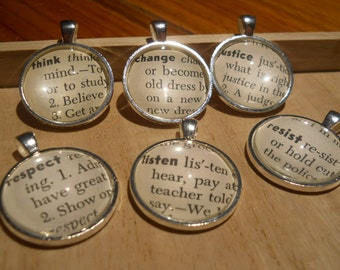 Social Justice, Diversity Equity Word Pendant Necklace Vintage Children's Dictionary Glass, Round Metal