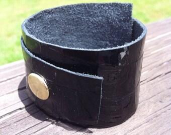 Black leather cuff, patent leather cuff, alligator embossed cuff