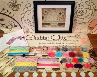 Baby Shower Headband Kit - Creates 15 Customized Headbands 4 Clips - Shabby Chic Flower - DIY Headband Kit Station Project Craft Activity