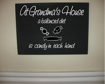 Custom Personalized Wooden sign-At Grandma's House A Balanced Diet is Candy in Each Hand