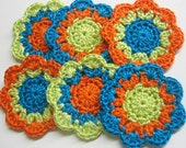 Handmade cotton flower motifs appliques in orange green and blue set of six