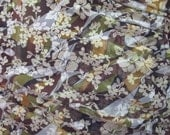 Chocolate pistachio Sateen cotton fabric, 1 yard thin transparent batik-printed. Chinese rose ornament, waves Brown, beige, green Woodland