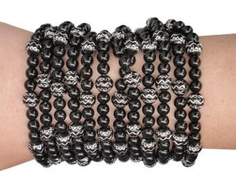 SIZE: MEDIUM - Zen Zig-Zag - Black and Silver Beaded Wallet/Bracelet