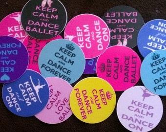 15 Precut Keep Calm & Dance Sayings Bottle Cap images