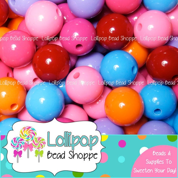 GUMBALL Beads 18mm Beads Chunky Beads Solid Acrylic Gum Ball Beads Round Plastic Bubble Gum Beads MIX Bubblegum Bead Necklaces & Bracelets