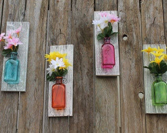 Colored glass wall vase - several colors - repurposed wood - wall vase