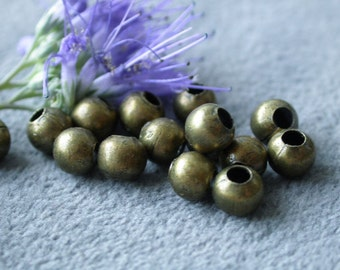 wholesale123Grams approximately 700pcs 5mm Antique bronze brass vintage Style antique bronze round beads beads   M21