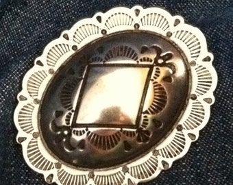 2 - Silver Large Oval Concho Buttons  -
