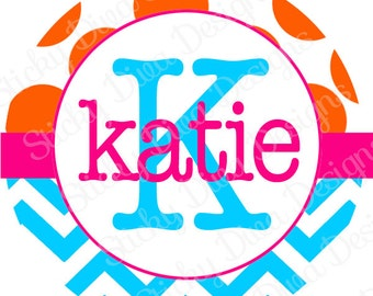 PERSONALIZED STICKERS - Custom Chevron and Dots Monogrammed Labels - Round Gloss Labels