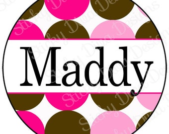 PERSONALIZED STICKERS - Custom Girly Dots Monogrammed Labels - Round Gloss Labels