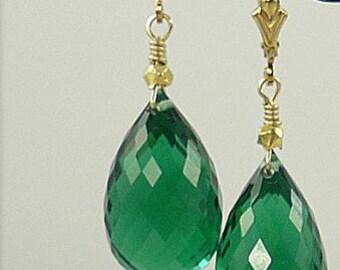 green amethyst and vermeil earring