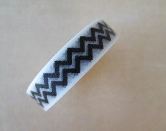 Washi Tape - Single Roll - Black on White Chevron