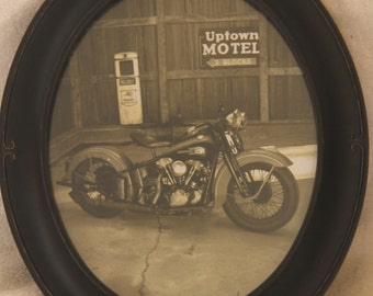 Framed 8x10 inch oval print of a 1939 Harley Knucklhead motorcycle