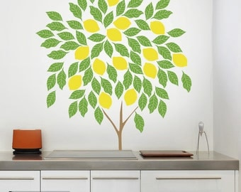 Lemon tree - Lemon tree decal - Lemon tree wall decal - wall decal tree silhouette - 053