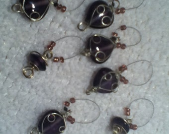 Wire and Purple Glass decorative no snag stitch markers