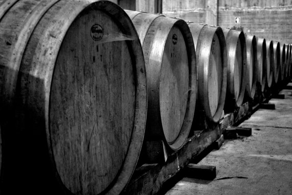 Black And White Wine Wall Decor : Items similar to black and white wine barrels print