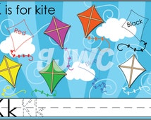 K is for KITE Alphabet File Folder Game - Downloadable PDF Only