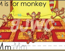 M is for MONKEY Alphabet File Folder Game - Downloadable PDF Only