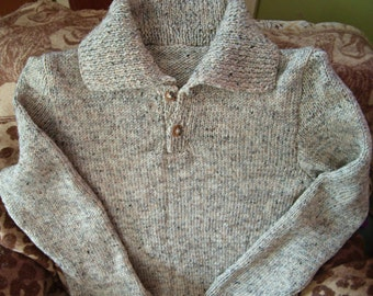 Hand- Knit Men's Collared Wool Pullover Sweater- Custom-Made to Order