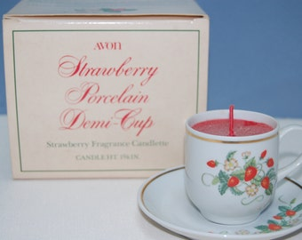 Collectible Avon Strawberry Porcelain Demi-Cup Candlette 1978