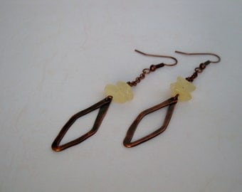 Hand Forged  Antiqued Copper and Aragonite Chip Earrings