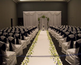 "75 FT 60"" Wide White Cloth Aisle Runner for Wedding Ceremony, Isle, Fabric"