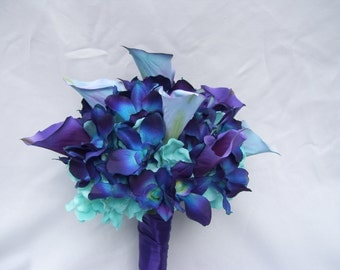 Nicole's Silk Bridal Bouquet with Turquoise Hydrangeas, Blue Orchids, Calla Lilies Galaxy,Singapore