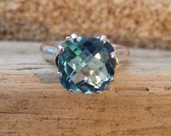 Square Cut Rainbow Topaz Ring