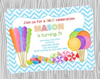DIY - Boy Candy Buffet Birthday Invitation - Coordinating Items Available