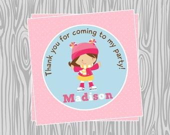 DIY - Girl Ice Skating Birthday Party Favor Tags - Coordinating Items Available