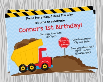 DIY - Boy Construction Dump Truck Birthday Party Invitation 1- Coordinating Items Available