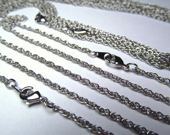 Wholesale 50 Pcs 20 Inch Rhodium Plated  2.5 MM Rope Chain Necklace Lot