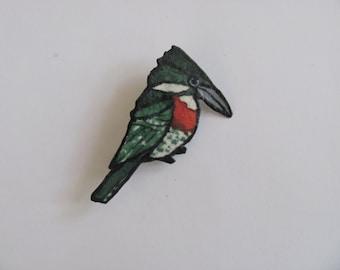 Original Mini Watercolor Painting King Fisher Bird Brooch Jewelry Bird Pin Gift Idea