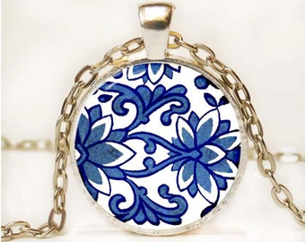 Blue and White Asian Porcelain Pendant Art Pendant Necklace Altered Art Photo Pendant Picture Pendant 3