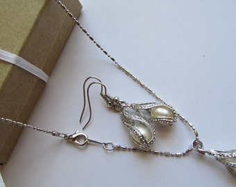 Set of Pearl- AAA Smooth White Rice Fresh Water Pearl Silver Necklace, White Rice Fresh Water Pearls Silver Dangle Earrings