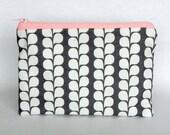 Gray & White Large Zipper Pouch