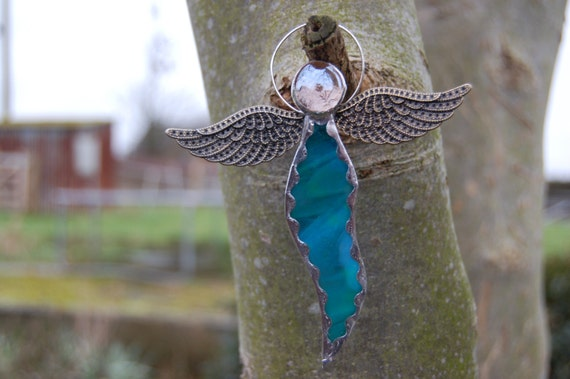Unique Stained Glass Steam Punk Wings Wispy Iridised Teal TurquoiseAngel