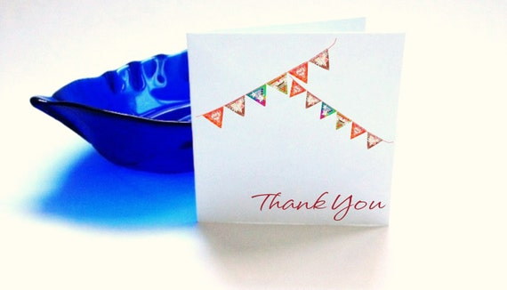 Thank You Cards Blank Bunting Flag Set of 6