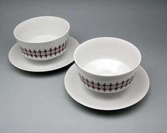 Retro porcelain soup cups (set of 2) by Mitterteich, Bavaria