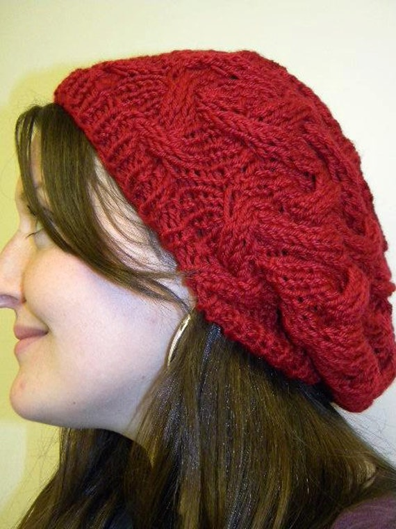 Pattern For Knitting Dishcloth : Cable Knit slouchy beret
